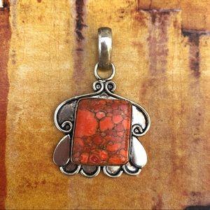 Jewelry - NEW Artisan Made Silver & Coral Jasper Pendant